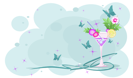Pink cocktail with a slice of lime on blue background among blue butterflies