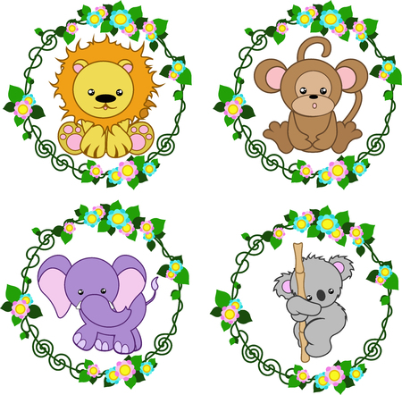 four bright stylized animals in a round floral frame, vector 向量圖像