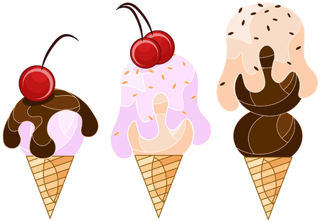 bright ice cream in a waffle cup in 3 versions, vector