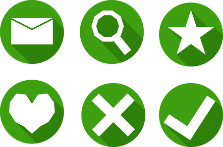 set of simple icons in a circle, in green tones, vector