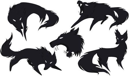 5 Silhouetten von Wölfen mit einem kleinen Anteil des Schattens, Vektor Vektorgrafik