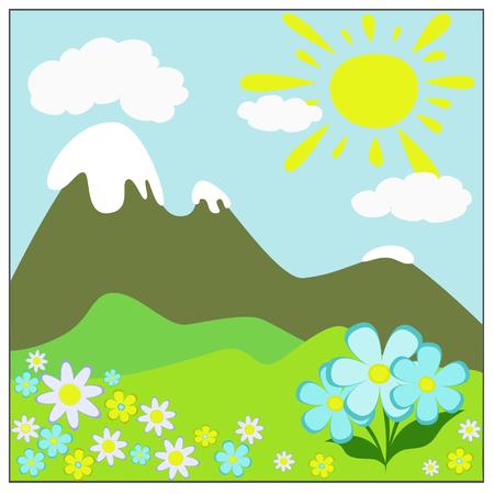 summer landscape in soft colors: mountains, hills, sun, flowers, clouds Çizim