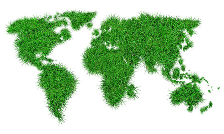 image map of the world with a superimposed effect of grass 写真素材