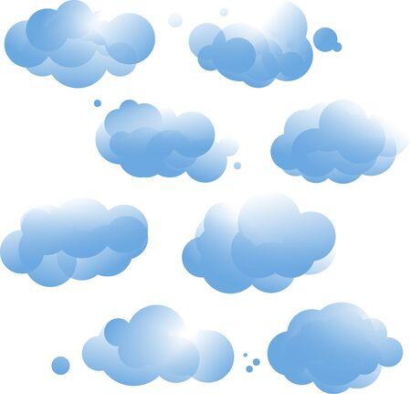 blue cloud in different shape Çizim