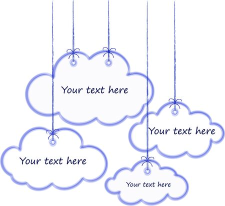 White clouds with blue strokes, suspended on gray threads, place for your text Çizim