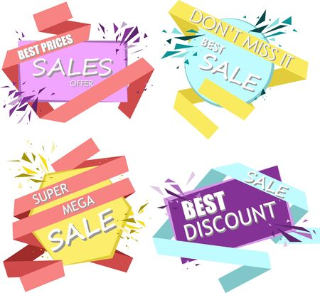 Sale of bright banners, template. Big sale, special offer, best offer, and do not miss illustration