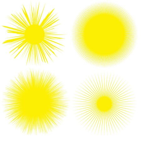 Four bright colored yellow suns. Set of solar symbols. summer.
