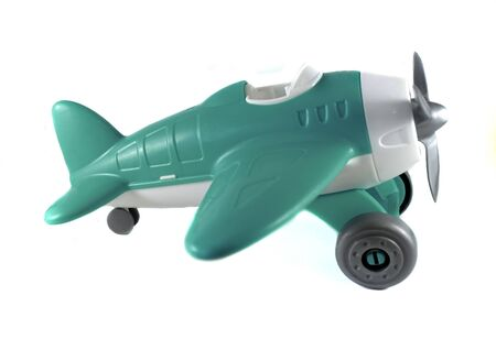toy airplane with a propeller, on wheels, azure, white, gray, without pilot, side view