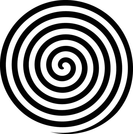 Hypnosis Spiral, concept for hypnosis, unconscious, chaos, extrasensory perception, psychic, stress, strain, optical illusion, headache, migraine. Black and white. Stock Illustratie