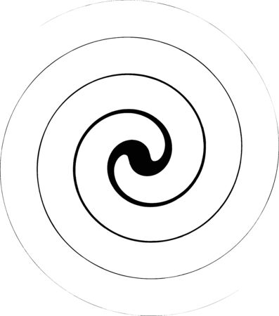 illustration of psychedelic spiral with rays, swirl, twisted comic effect, vortex backgrounds. Spiral icon. Helix and scroll, curly, loop symbol. Flat design.