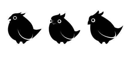 black silhouettes of birds in different poses on a white background