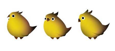 yellow birds with a crest in a gradient in different poses on a white background