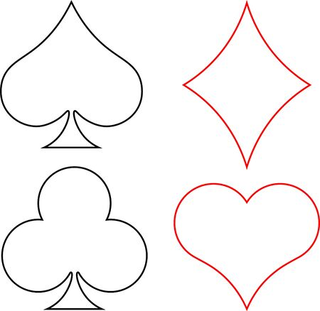 Suits of playing cards: Hearts, Diamonds, Club, Spades. Linear design. Isolated on a white background. Kraust and black on a white background.