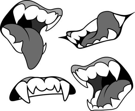Mund mit spitzen Reißzähnen in grauen Farben, in mehreren Ausführungen. Vampir, Werwolf, Halloween.
