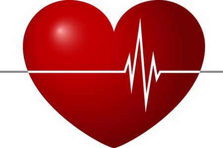 Red heart and palpitations inside him. Medical heartbeat icon. Heartbeat health care and medical sign and symbol. Medical heartbeat icon. Heartbeat Healthcare and Medical Sign and Symbol