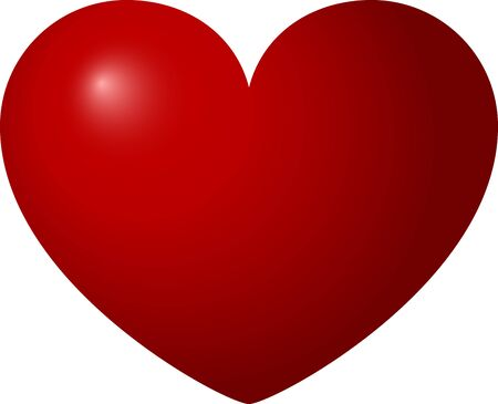 Red heart with shadows on a white background, Valentine's day, vector illustration