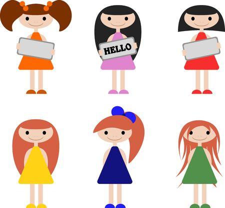 Süße kleine Mädchen mit verschiedenen Frisuren und Kleidung, die sich in der Farbe unterscheiden. Mädchen, die ein Schild in den Händen halten. 6 Optionen.