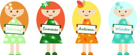 Girls with seasons signs, in different clothes and with different hair depending on the season. Four seasons abstraction concept for your design. Illustration