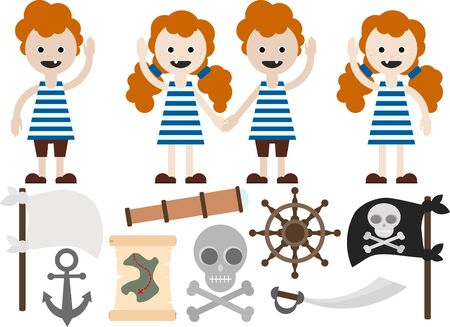 girl and boy with freckles, with red curly hair in striped clothes. Marine, sailor, pirate attributes. Sailors, pirates.