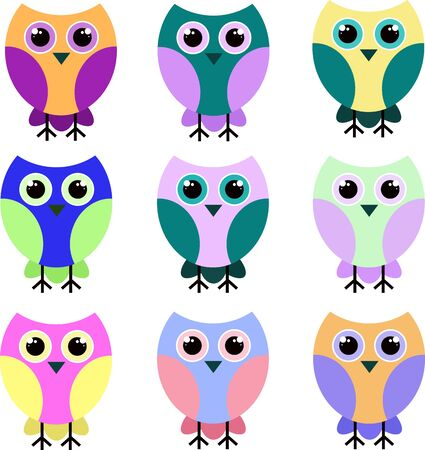 many birds, owls in different and vibrant colors. Vector illustration.