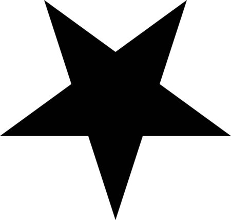 Five-pointed inverted star with sharp rays. Satanic pentagram. Vector illustration, vector.