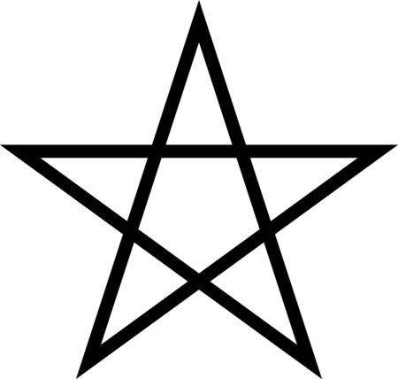 Black star on a white background with sharp edges. Flat linear star. Stock Illustratie