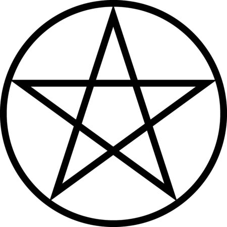 Pentagram isolated vector occultism star symbol in a circle. Occultism, halloween. Pentagram.
