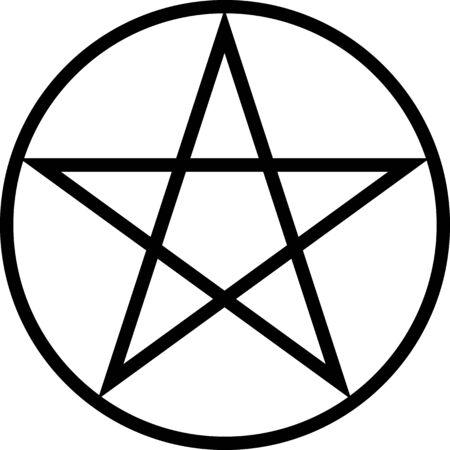 Pentagramm isoliertes Vektorokkultismus-Sternsymbol in einem Kreis. Okkultismus, halloween. Pentagramm.