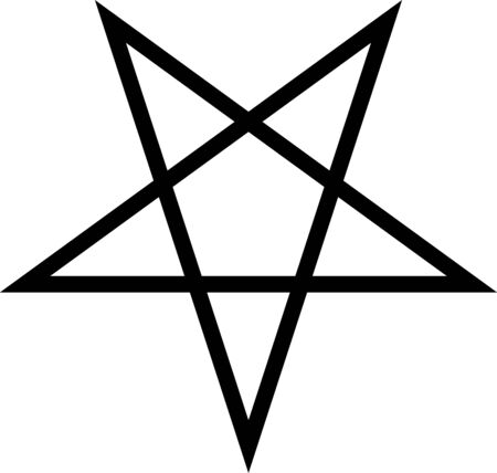 Standard inverted black five-pointed star or pentagram. Flat illustration, vector.