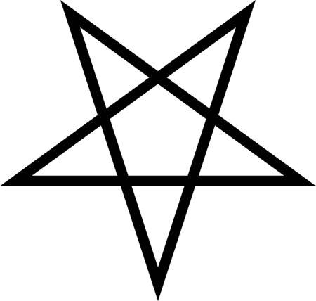Standard inverted black five-pointed star or pentagram. Flat illustration, vector.