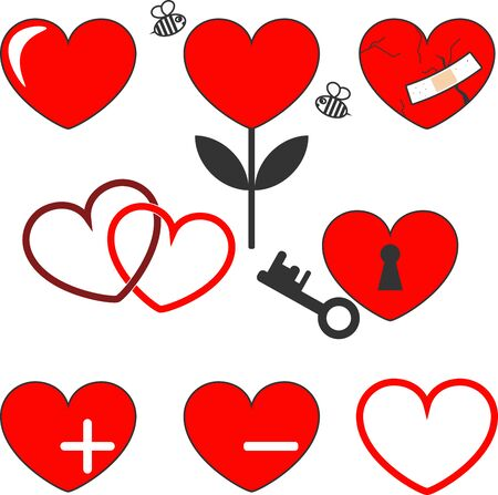 Red heart with black stroke in different options on a white background. Design elements for Valentine's day. Wounded heart, heart castle, heart in the form of a flower with bees.