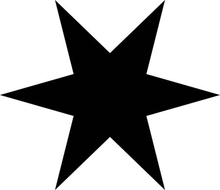 flat black standard six-pointed star with sharp rays on a white background