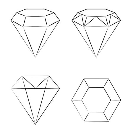 Set of geometric diamond vector icons on a white background. Vector illustration. Decoration design.