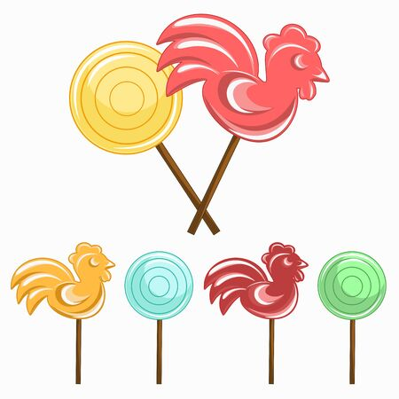 bright cockerel lollipops and round lollipop Isolated on a white background. Vector illustration. Sweetness, sugar, sweets for children.