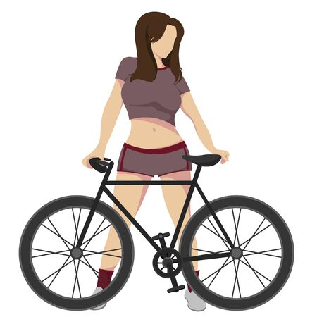 Athletic, slim girl in a short T-shirt and short shorts who stands behind, near a bicycle isolated on a white background. Vector illustration