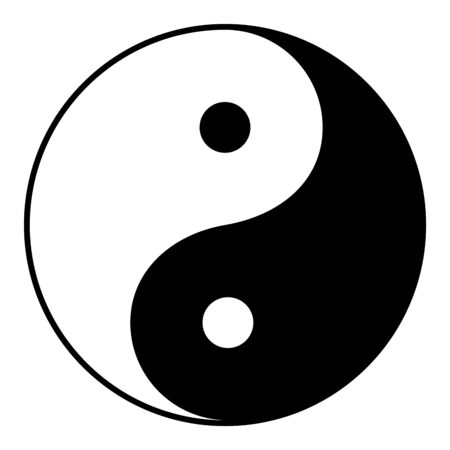 Yin Yang is a symbol of harmony and balance, Black and White Yin Yang Isolated on White Background Illustration - VECTOR Vector Illustration