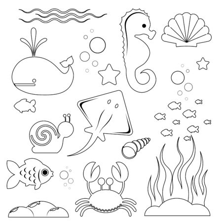 image with a black stroke of marine inhabitants and objects of the marine world isolated on a white background. Vector illustration