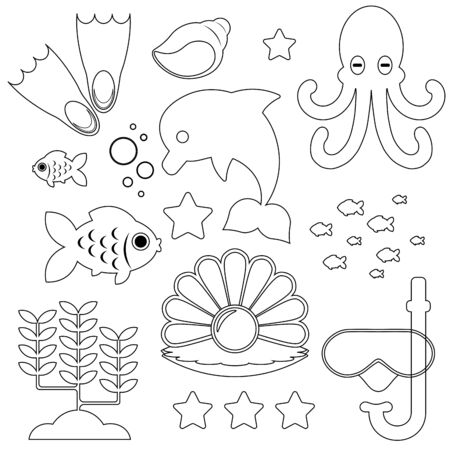 icons of the underwater world and marine life in black and white version isolated on a white background. Vector illustration