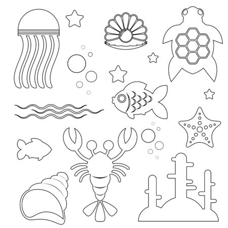 black and white image of marine life and objects of the marine world isolated on a white background. Silhouettes of subjects of marine subjects. Vector illustration