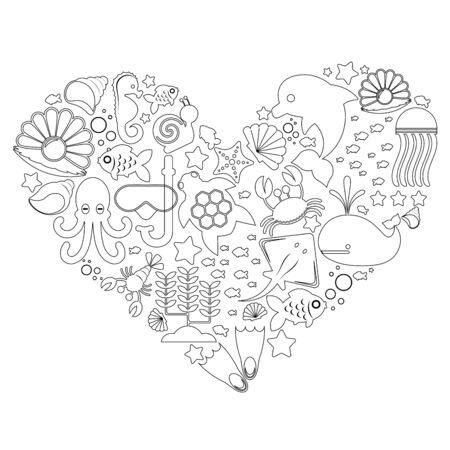 black and white silhouettes of marine-themed objects and marine inhabitants lined with hearts isolated on a white background. Vector illustration