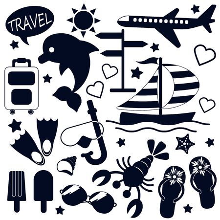 set of black icons of cruise, vacation, travel and vacation on the beach isolated on white background