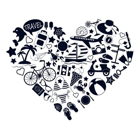 set of black icons of travel, vacation and leisure located in the form of a heart isolated on a white background Vectores