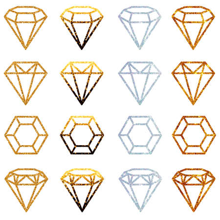 silhouette of a crystal, gem in several variants and in different colors, isolated on a white background