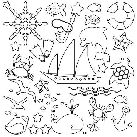 Travel, holiday and vacation icons set isolated on white background. Vector thin line illustrations with objects, activities and places related to travel, tourism, outdoors on the beach and in the mou