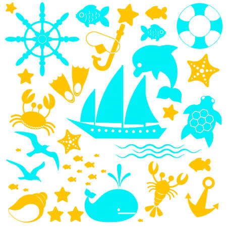 Marine icons are made in blue and orange in the same style on a white background. Vector illustration. Travel and vacation icons.