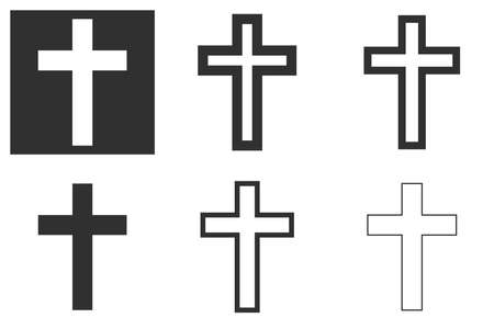 christian cross icon on a white and dark background background in several color options. vector illustration