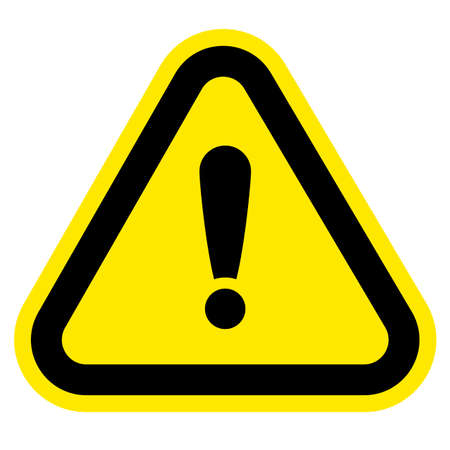 yellow triangle shaped hazard warning sign with exclamation mark isolated on white background