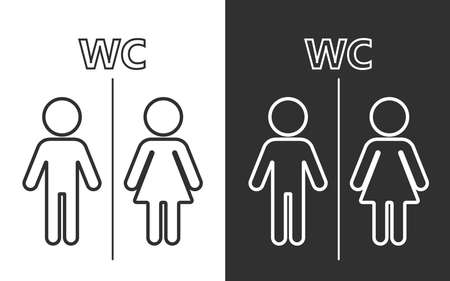Toilet and bath line icon or Toilet symbols, toilet sign Bathroom Male and female Gender icon Funny toilet door plate symbol isolated on white and dark background sign vector illustration 向量圖像
