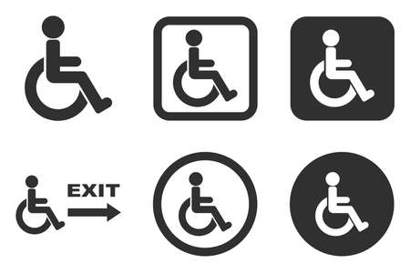 Man on a wheelchair, people with disabilities, icons for the disabled for shopping malls and buildings Isolated on white background 向量圖像