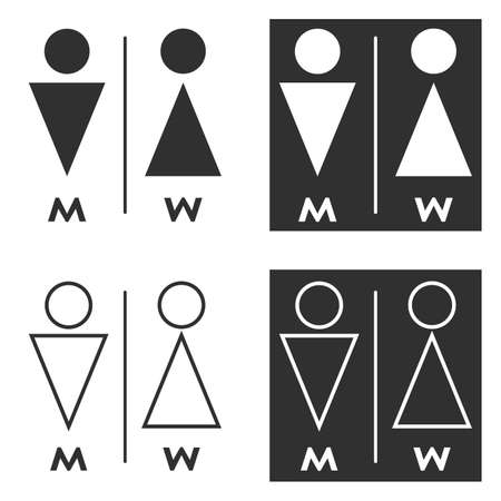 Simple Man and Woman (Gender) Icon / Vector - In Line / Stroke Design with Editable Stroke